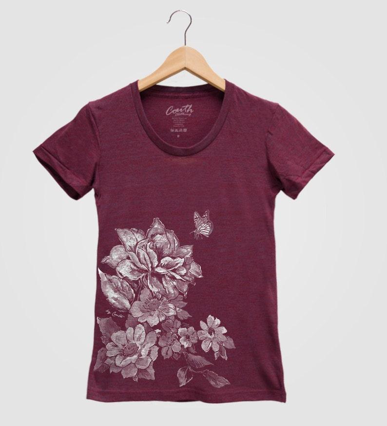 a53854e2 FLOWER PRINT Shirt Women Custom Hand Screen Print Tri-Blend | Etsy