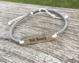 Run Happy stainless steel bar bracelet handmade