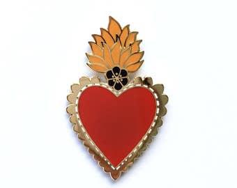 HEART brooch lapel jewelry pin handmade hearts from Oaxaca Mexico.