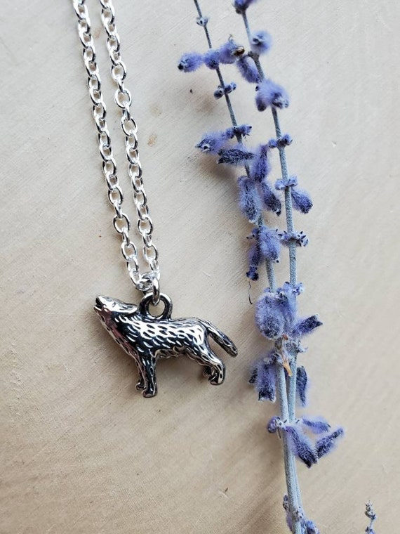 Wolves Fan Teen Gift Full Moon Jewelry Supernatural Gift Wolf Moon Necklace Howl Wolf Gift Faux Druzy Necklace Little Wolf Jewelry