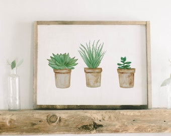 Watercolor Framed Wood Sign - Potted Succulent Plants, Handmade in USA, Spring Summer Decor, Housewarming Gift, Birthday Present, Home Decor