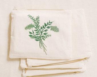 Watercolor Makeup Bag - Eucalyptus Bunch, Handmade in USA, 100% Organic Cotton, Shop Small, Pencil Case, Bridesmaid Gift, Wedding Favor