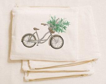 Watercolor Makeup Bag - Floral Bike, Handmade in USA, 100% Organic Cotton, Shop Small, Pencil Case, Bridesmaid Gift, Wedding Favor