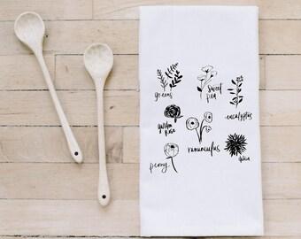 Tea Towel- Flower Types, Made in the USA, housewarming gift, wedding favor, kitchen decor, anniversary present, calligraphy design