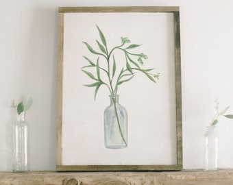 Watercolor Framed Wood Sign - Eucalyptus Bunch, Handmade in USA, Spring, Summer Decor, Housewarming Gift, Birthday Present, Home Decor