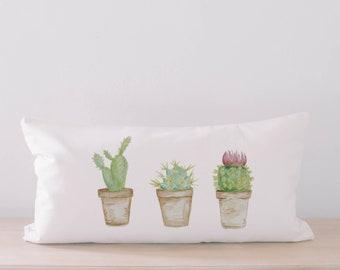 Lumbar Pillow - Cactus Watercolor, Handmade in USA, 100% Organic Cotton, Calligraphy Home Decor, Housewarming gift, Cushion Cover