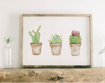 Watercolor Framed Wood Sign - Cactus, Handmade in USA, Spring, Summer Decor, Housewarming Gift, Birthday Present, Home Decor, Living Room