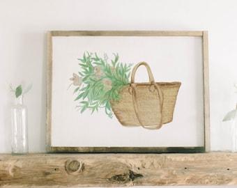 Watercolor Framed Wood Sign - Market Basket Flowers, Handmade in USA, Spring, Summer Decor, Housewarming Gift, Birthday Present, Home Decor