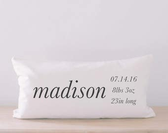 Lumbar Pillow - Personalized Birth Stats, home decor, wedding gift, engagement present, housewarming gift, cushion cover, throw pillow