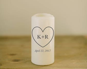 Personalized Pillar Unity Candle - Heart, Initials & Date