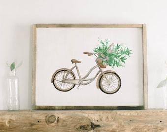 Watercolor Framed Wood Sign - Floral Bike, Handmade in USA, Spring, Summer Decor, Housewarming Gift, Birthday Present, Home Decor