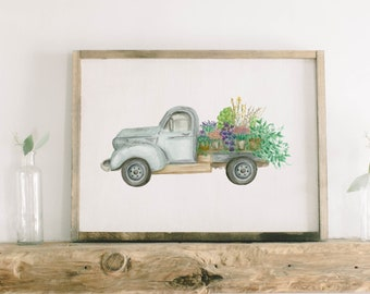 Watercolor Framed Wood Sign - Floral Truck, Handmade in USA, Spring Summer Decor, Housewarming Gift, Birthday Present, Home Decor