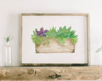 Watercolor Framed Wood Sign - Succulent Floral Box, Handmade in USA, Spring, Summer Decor, Housewarming Gift, Birthday Present, Home Decor