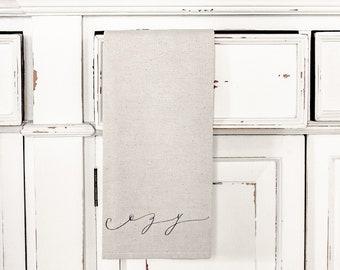 SALE NATURAL Tea Towel - Cozy words Black text, Made in the USA, housewarming gift, kitchen decor, present, Liz Marie Blog, farmhouse