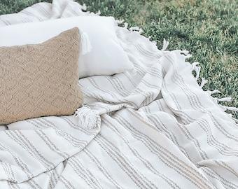 Picnic Throw Blanket - Oversized blanket, summer throw, beach blanket