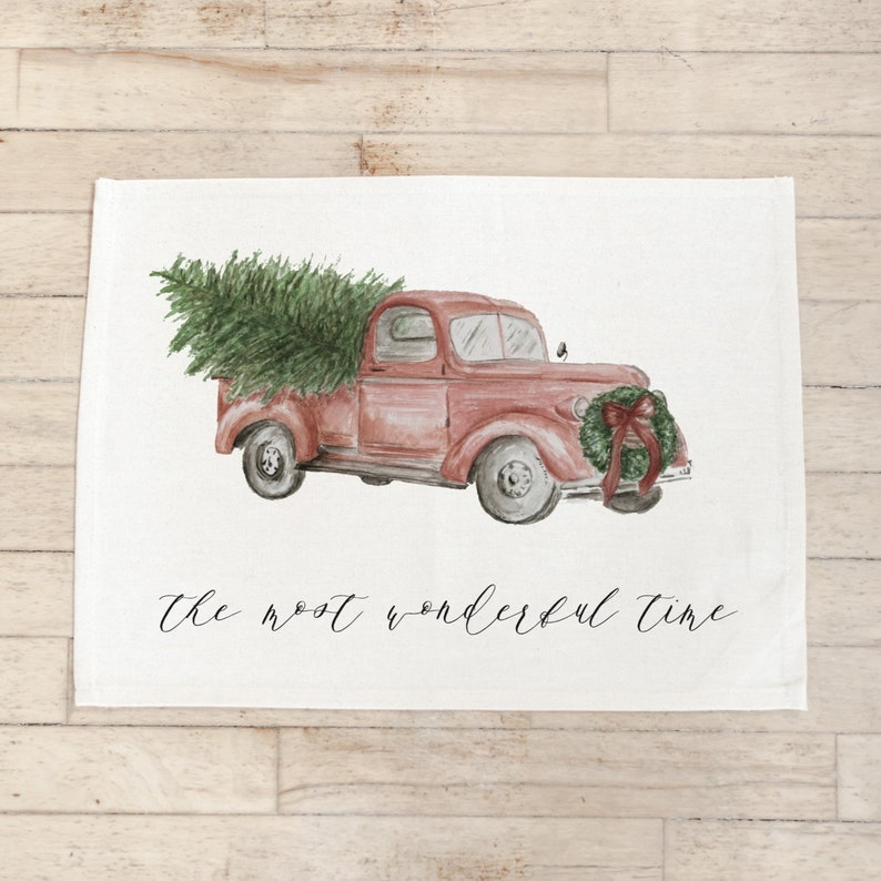 Seasonal Christmas Placemat Red Truck Tableware Place Setting The Most Wonderful Time Watercolor Home Decor Housewarming Gift