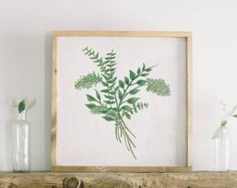 Watercolor Framed Wood Sign - Eucalyptus Bunch, Handmade in USA, Spring Summer Decor, Housewarming Gift, Birthday Present, Home Decor