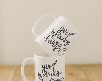 Ceramic Mugs, Set of 2 Good Morning Beautiful & Handsome, couple, wedding gift, newlywed, engagement, wedding shower, anniversary
