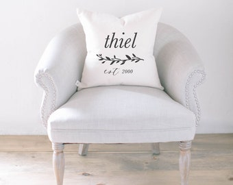 Personalized Throw Pillow - Last Name With Laurel, Choose Your Favorite Fabric Color, Text Color, Font Design, Cover Size and Fill!