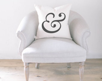 Throw Pillow - Ampersand, calligraphy, home decor, wedding gift, engagement present, housewarming gift, cushion cover, throw pillow