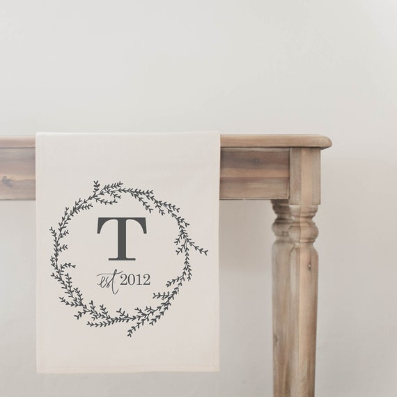 Initial Home Decor: Initial With Wreath Table Runner Home Decor Present