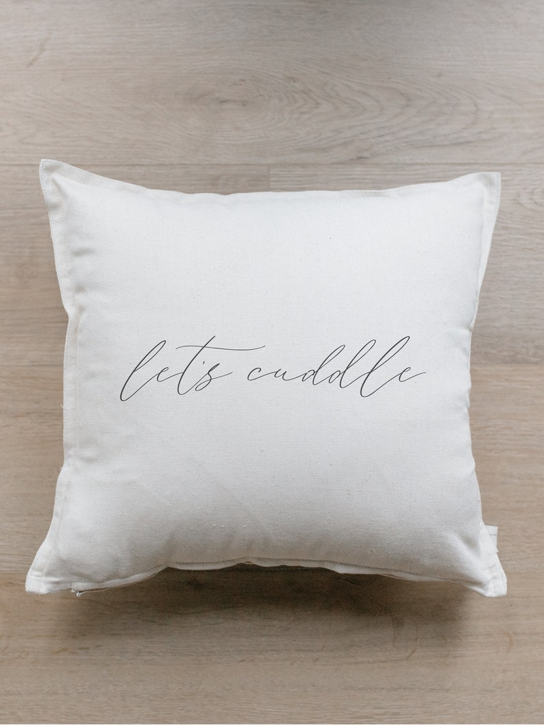Throw Pillow  Let's Cuddle  Outer Edge Seam image 1