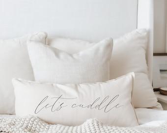 Lumbar Pillow - Let's Cuddle, Outer Edge Seam, Handmade in USA, 100% Organic Cotton, Calligraphy Home Decor, Shop Small, Housewarming gift