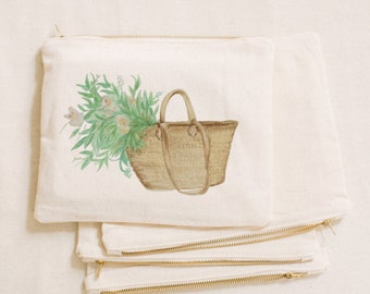 Watercolor Makeup Bag - Flower Market Basket, Handmade in USA, 100% Organic Cotton, Shop Small, Pencil Case, Bridesmaid Gift, Wedding Favor