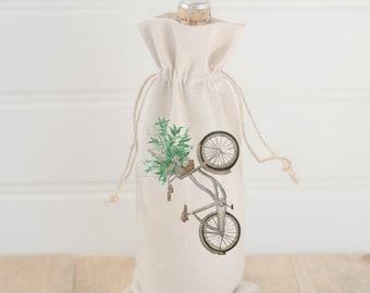Watercolor Wine Bag - Floral Bike, Spring Lifestyle Decor, Summer Design, Hostess, Wedding Gift, Birthday Present, All Natural Organic