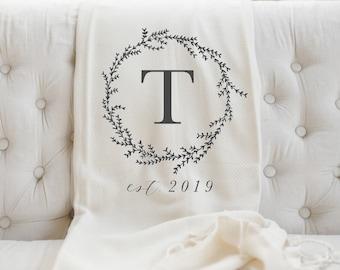Personalized Throw Blanket - Wreath Initial, present, housewarming gift, decorative blanket, cozy, birthday gift