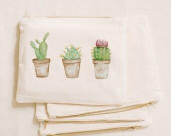 Watercolor Makeup Bag - Cactus, Handmade in USA, 100% Organic Cotton, Shop Small, Pencil Case, Bridesmaid Gift, Wedding Favor