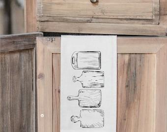 SALE WHITE Cutting Boards Folded Tea Towel - Made in the USA, housewarming gift, kitchen decor, present, farmhouse decor