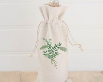 Watercolor Wine Bag - Eucalyptus Bunch, Spring Lifestyle Decor, Summer Greenery, Hostess Gift, Birthday Present, All Natural Organic