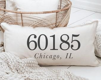 Lumbar Pillow - Personalized Zip Code - Outer Edge Seam, wedding gift, engagement present, housewarming gift, cushion cover, throw pillow