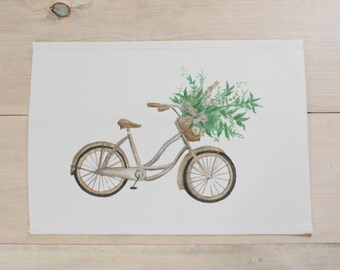 SALE NATURAL Floral Bike Placemat, home decor, present, housewarming gift, tablewear, table scene, place setting, set the table, place mat