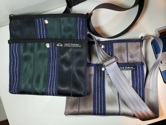 Seatbelt Bag Messenger Bag SmMd Black, green, blue. Made from repurposed seat belts and reflective ratchet strap tie down webbing