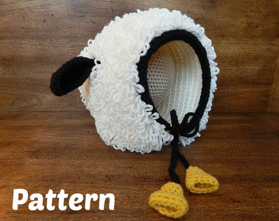 Häkeln Hut Muster: Bekloppt Ewe Bonnet Baby Bonnet Lamm-Hut | Etsy