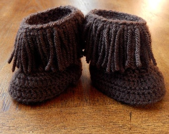 Baby Boots : Moccasin Boots, Fringe Boots Newborn-3 Months, 3-6 Months, 6-12 Months, 12-18 Months