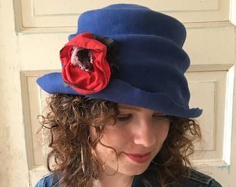 Blue Felt Hat, Blue Felt Cloche, Sculptural Hat, Felt Hat with Flower, Retro Hat, Slouchy Felt Hat, Chic Hat