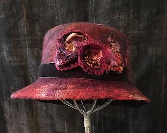 Unique Felt Hat, Designer Felt Hat, Nuno Felted Hat, Wet Felted Hat, Church Hat, Funky Hat, Felted Hat with Vintage Textiles