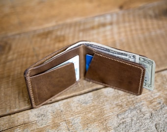 Ready to Ship - Hand-Stitched Horween Leather Bifold Wallet in Natural Chromexcel
