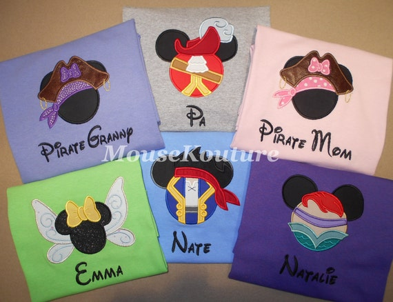 Disney Family Shirts Mickey Minnie Embroidery Mouse Ears Family Vacation Clothes or Cruise Shirt personalized Mix n Match