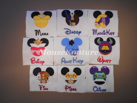 Disney Family Shirts Embroidered Mickey Minnie Vinyl Mouse Ears Family Vacation Clothes or Cruise Shirt personalized Mix n Match