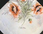 Vintage COLETTE Hanky, Vintage Silk Screen Hankie, Lovely Bouquet of Orange White Flowers with Green Stems