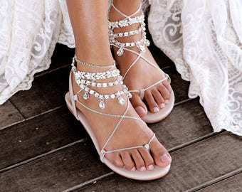 0bc57d5e8df9 Nude Flat Sandals with silver jewels