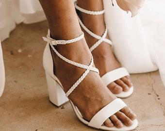 Plaited Leather Heels, Plaited bridal shoes, Bohemian Bridal Shoe, Wedding shoe, White block heel bridal shoe. Boho bride. Ceremony Sandals