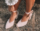 Ladies bridal shoes, suede wedding shoes, suede closed toe heels, block heels, nude bridal shoes, covered toe bridal shoes - Meadow