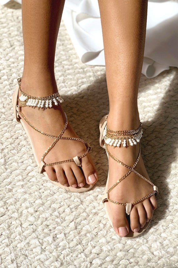 Pearl wedding shoes, pearl bridal shoes, flat wedding sandal, nude leather sandal, nude wedding shoe, flat strappy sandal: Nami Flats gold
