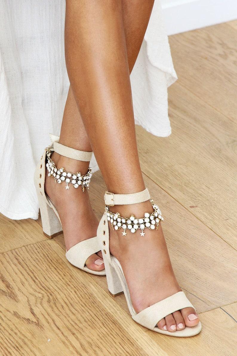 Sandales mariage vegan bracelets de cheville étoiles  7f359518b50
