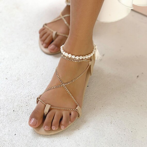 Pearl Flat Sandals Jewelled Sandal Nude Leather Sandal Gold Lace Up Shoes Nude Wedding Shoe Flat Strappy Sandal Lulu Flats Gold